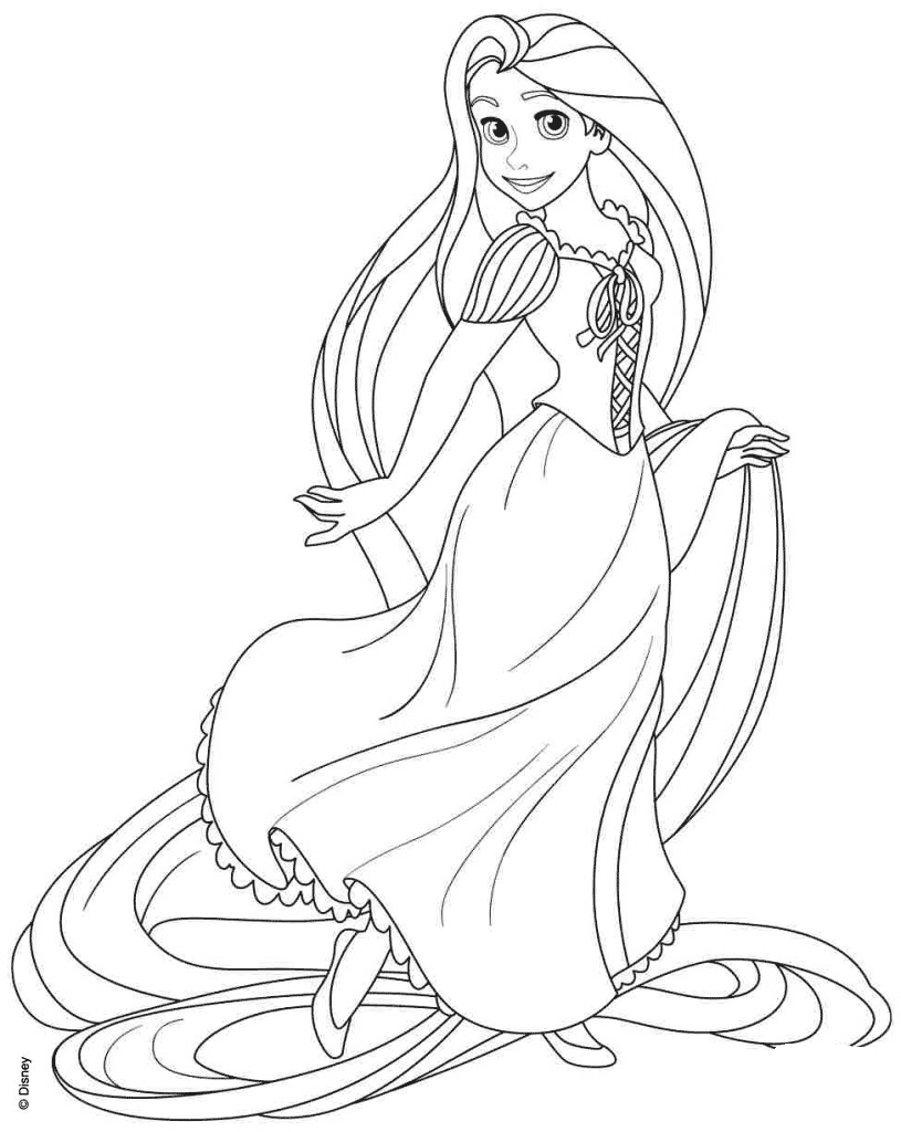 Rapunzel from Disney Tangled Coloring Page