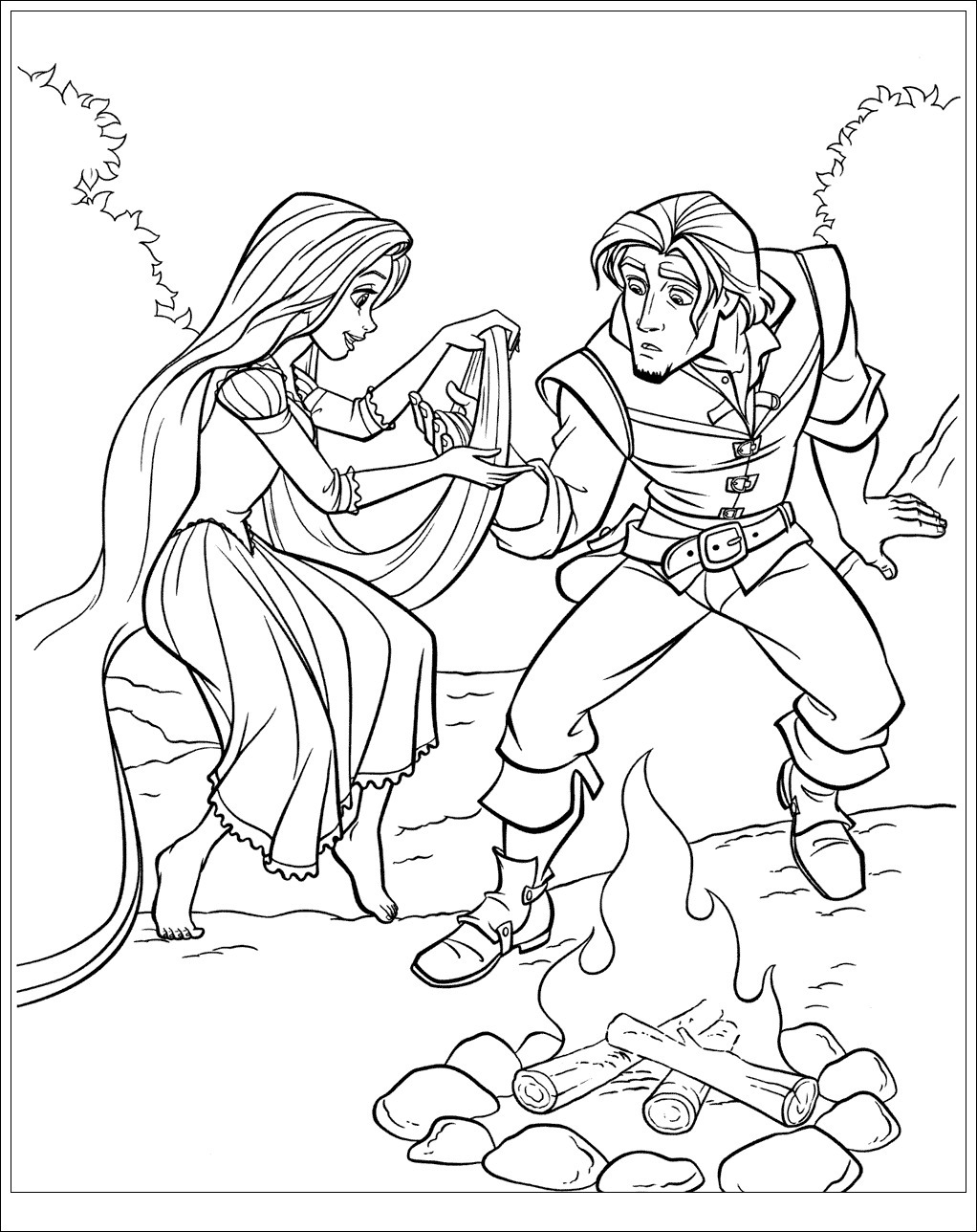 Rapunzel gives Flynn first aid Coloring Page