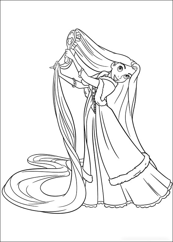 Rapunzel is brushing her hair Coloring Page