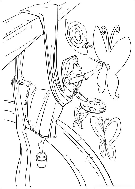Rapunzel is drawing Coloring Page