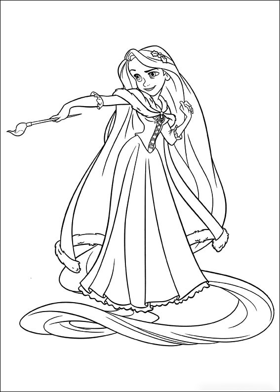 Rapunzel is holding a pain brush Coloring Page