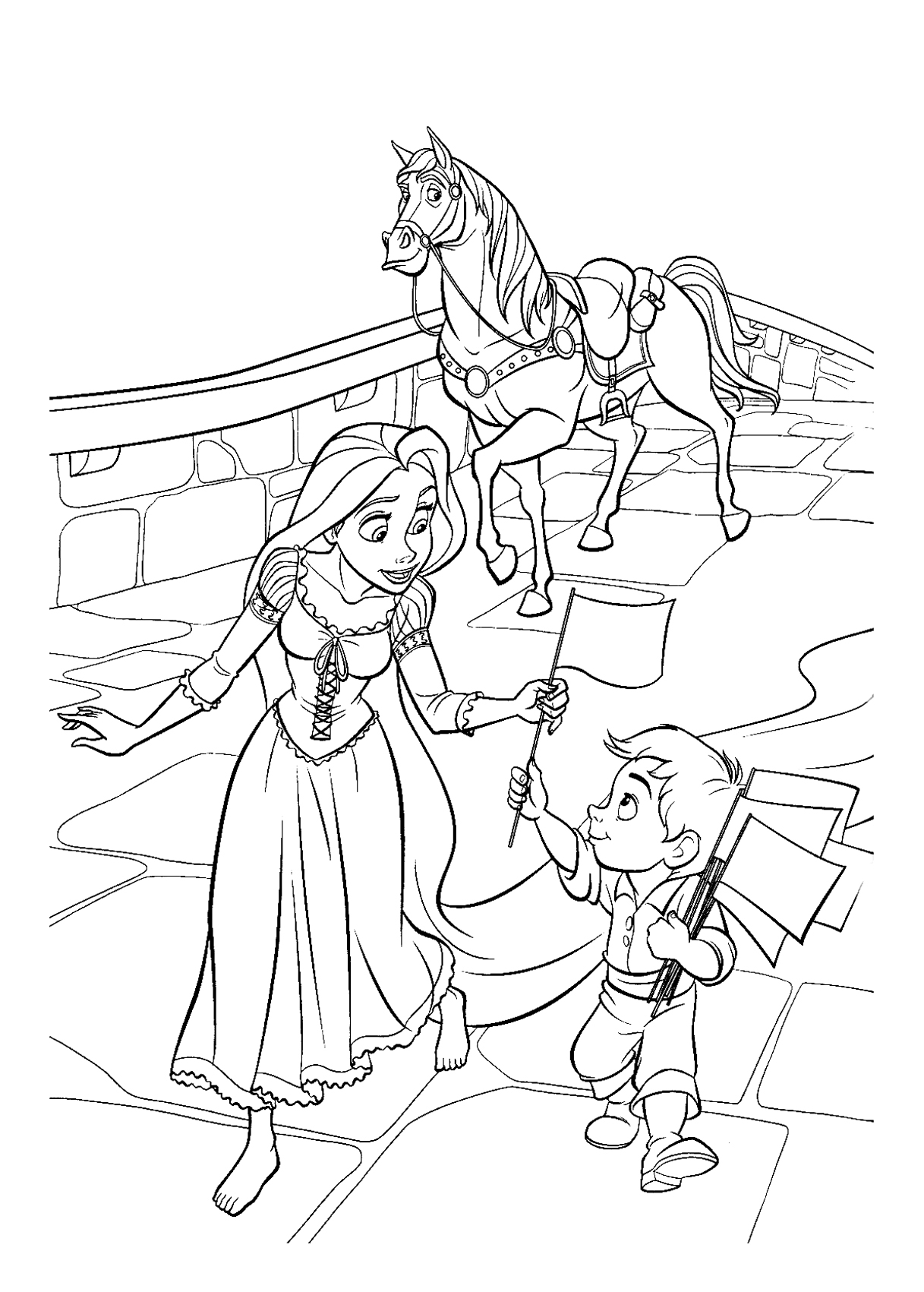 Rapunzel is playing with children Coloring Page