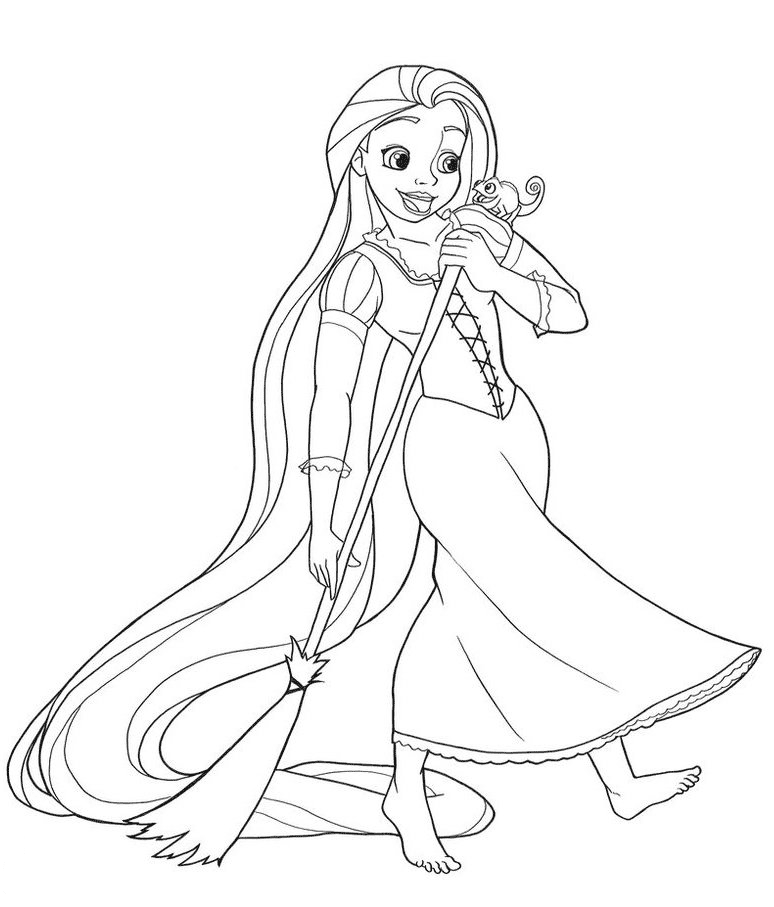 Rapunzel is sweeping Coloring Page