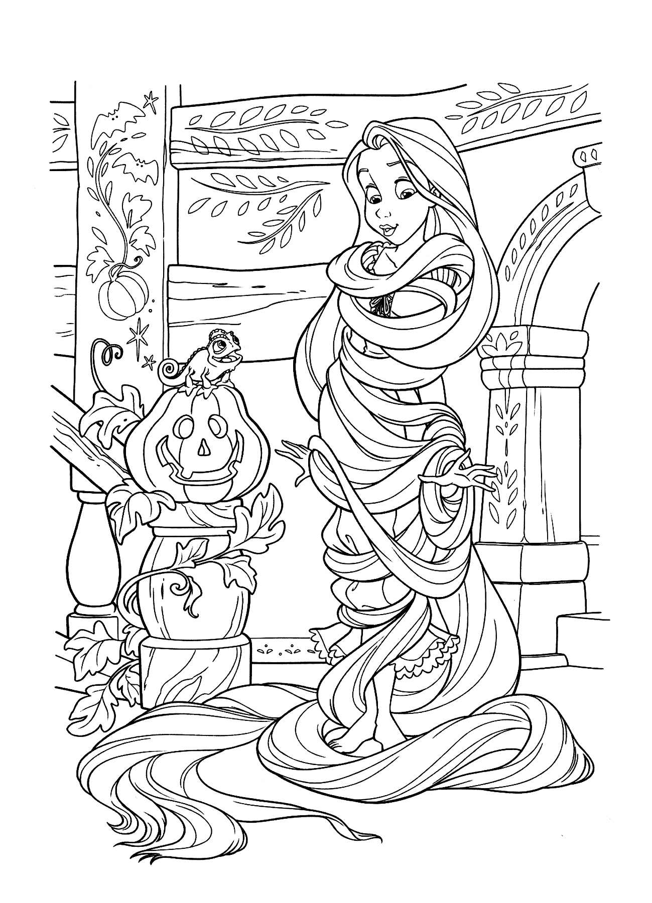 Rapunzel is tied by her long hair Coloring Page