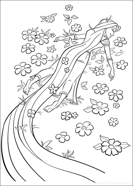 Rapunzel lies on the flowers