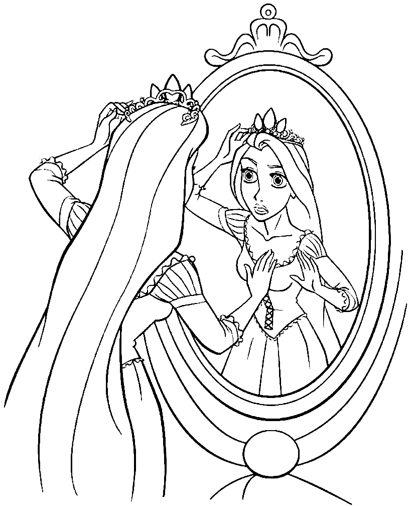 Rapunzel looks into the mirror Coloring Page