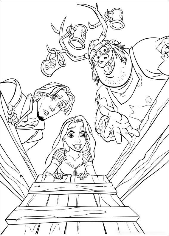 Rapunzel opens the door Coloring Page