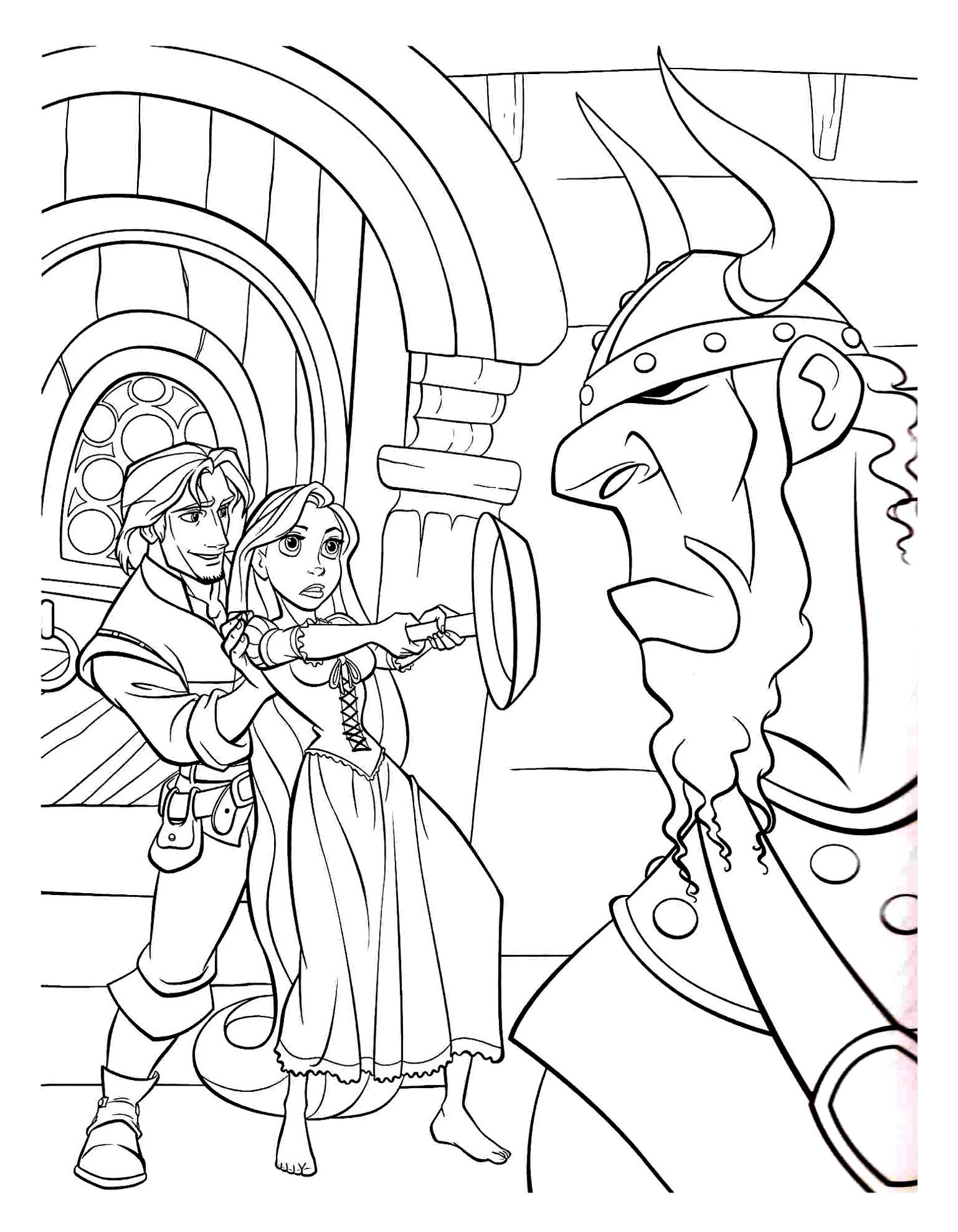 Rapunzel protects Flynn rider