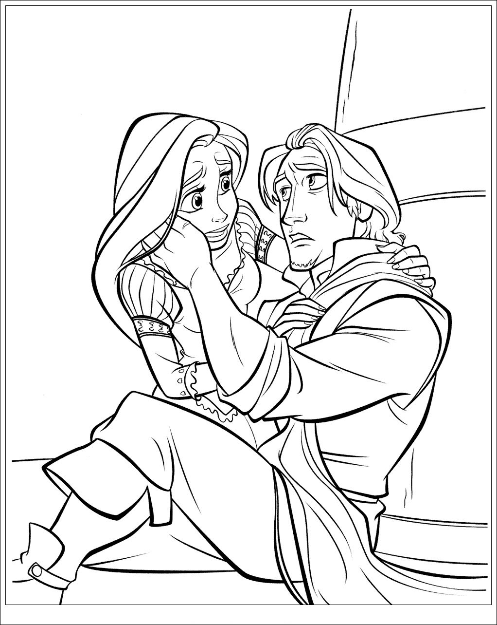 Rapunzel sees Flynn Coloring Page