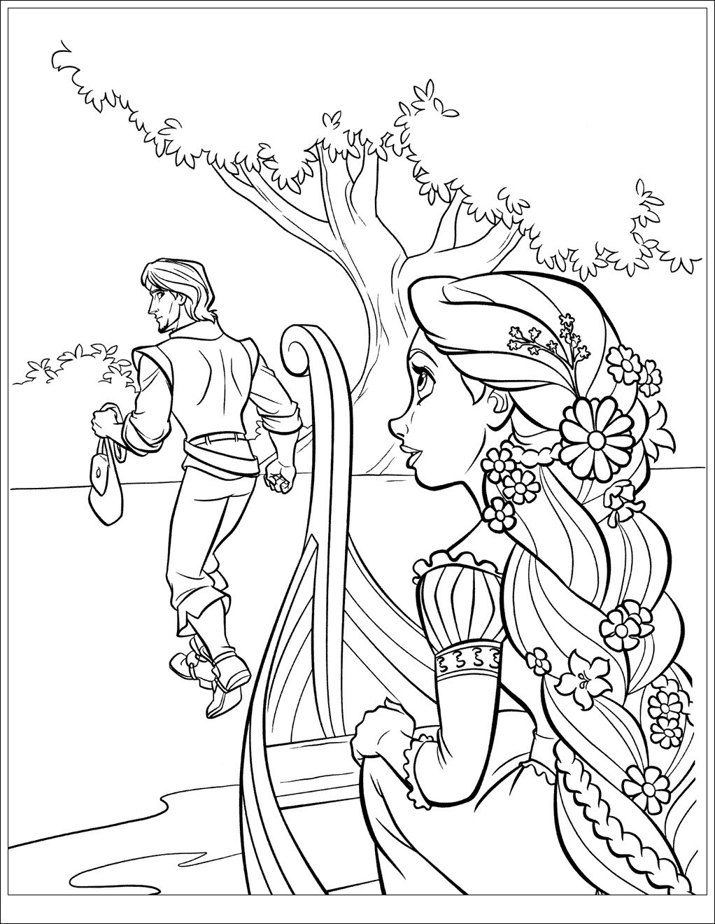Rapunzel sits on the boat Coloring Page