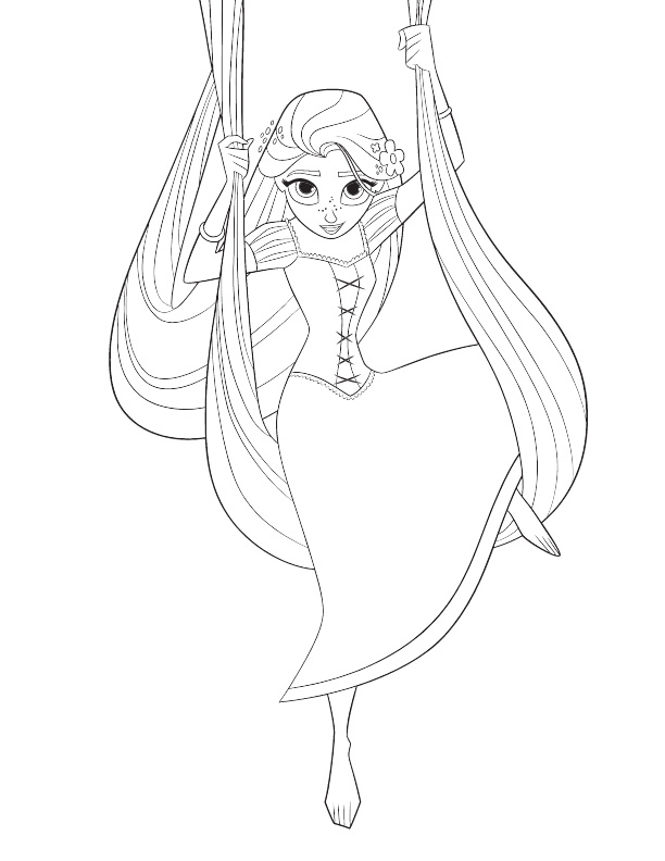 Rapunzel swings by her long hair Coloring Page