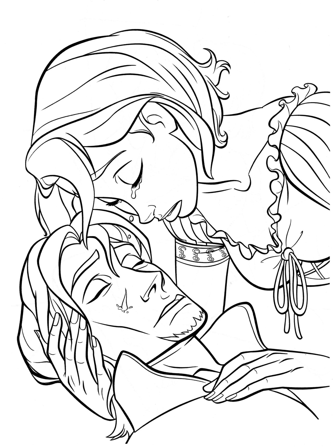 The tear of Rapunzel heals Flynn Coloring Page