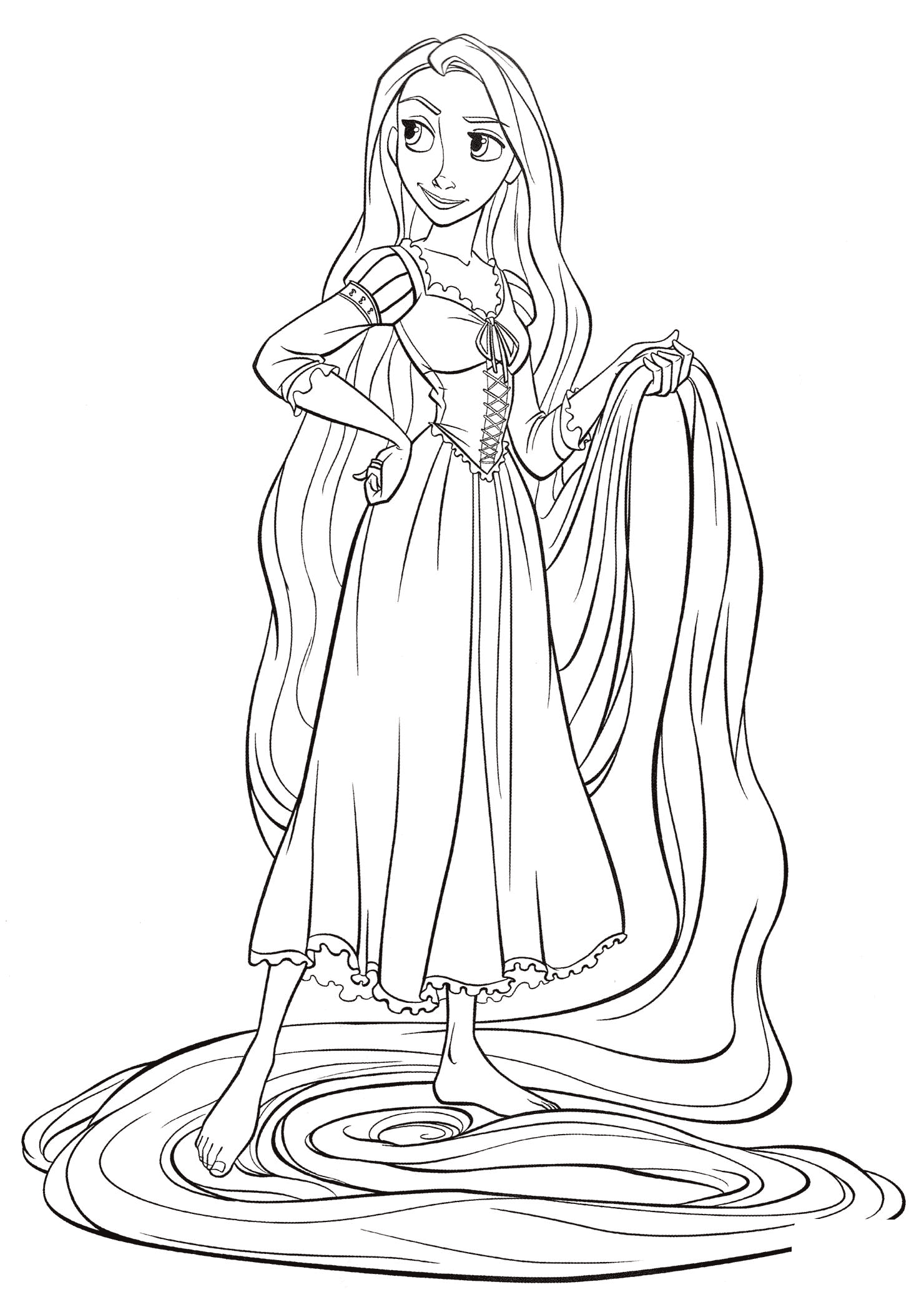 Rapunzel with a long hair Coloring Page