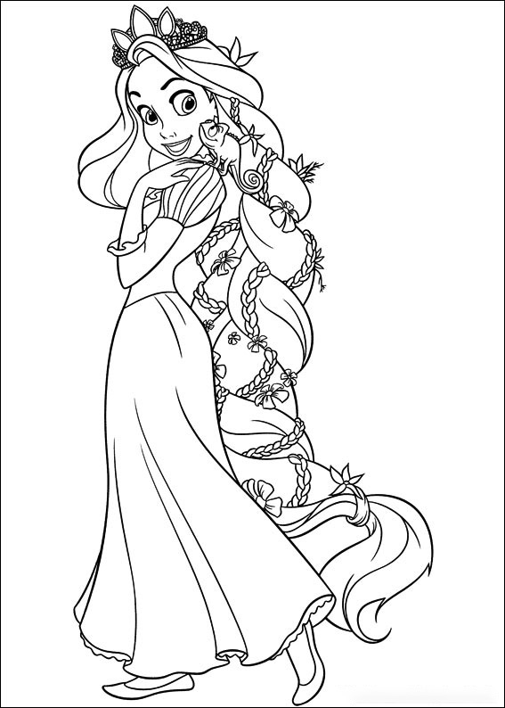 Rapunzel with her beautiful long hair Coloring Page