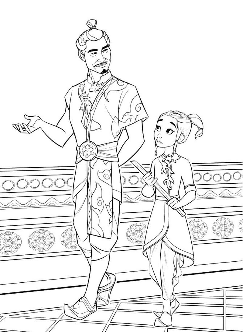 Raya and her father, Chief Benja, walks together Coloring Page