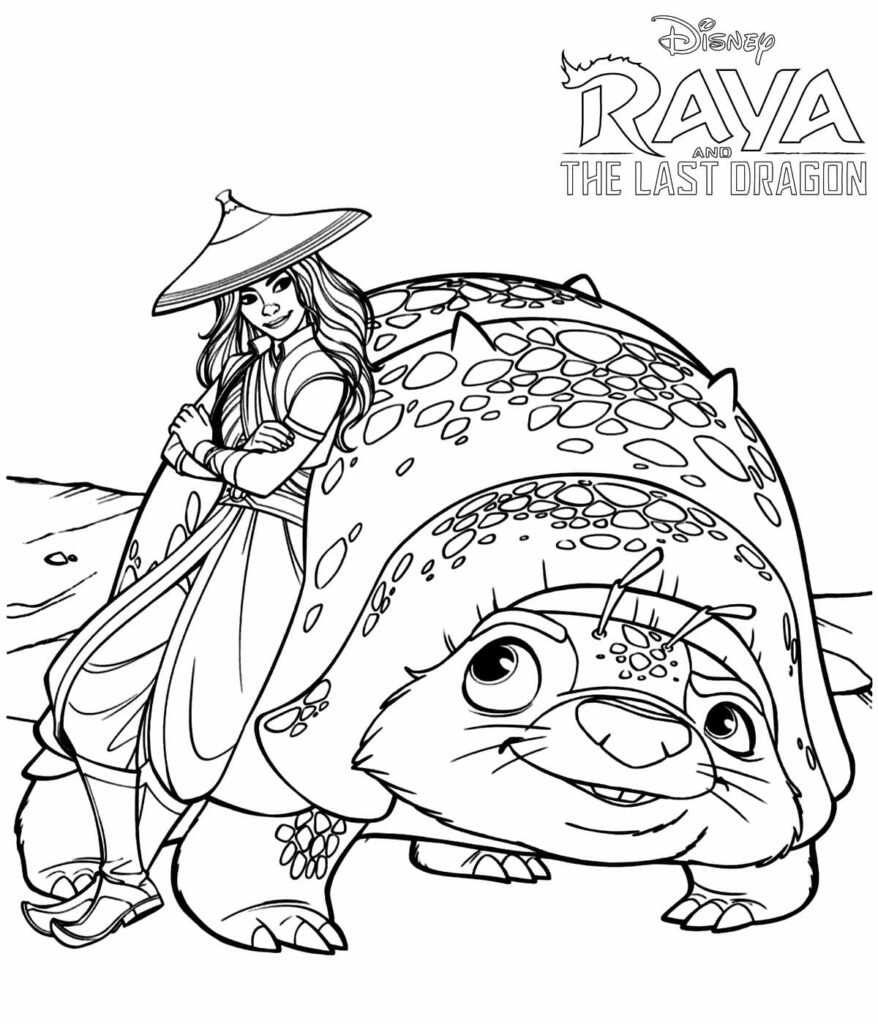 Raya and Tuk Tuk, Best Friends and Companion Coloring Page
