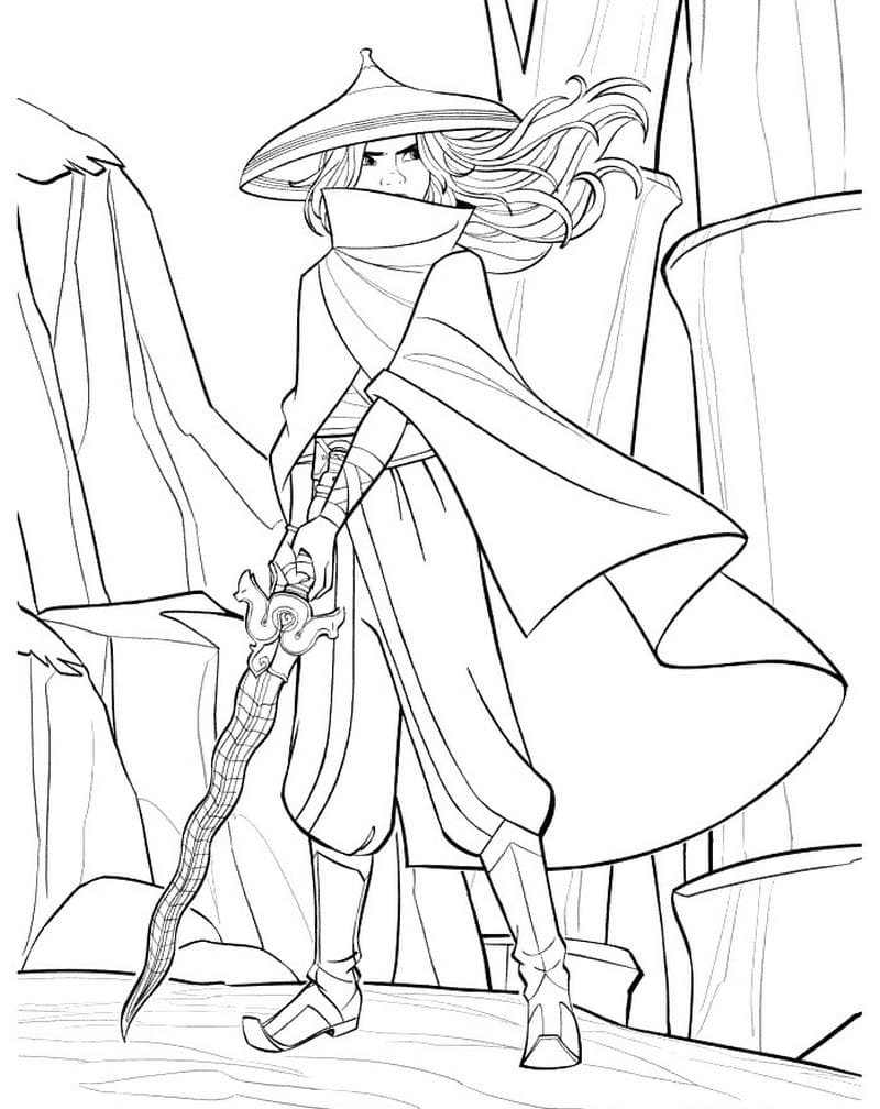 Raya brings her sword and stands on the rock Coloring Page