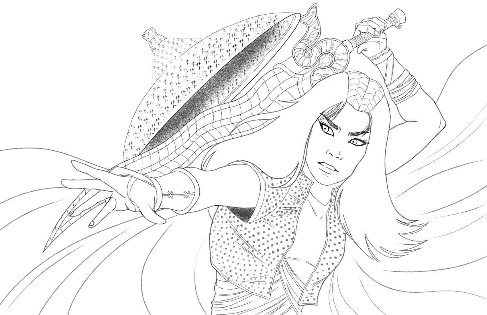 Raya from Raya and the Last Dragon in live-action Coloring Page