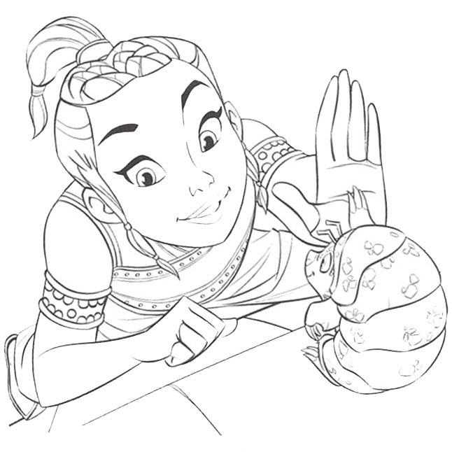 Raya high-five with Tuk Tuk in Raya and the Last Dragon Coloring Page