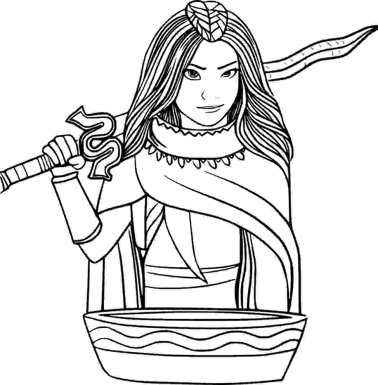 Raya holds her sword and look into a Pot Coloring Page