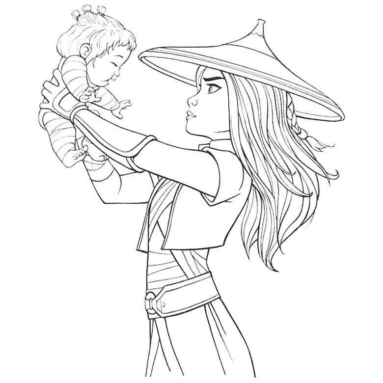 Raya lifts the baby Noi Coloring Page