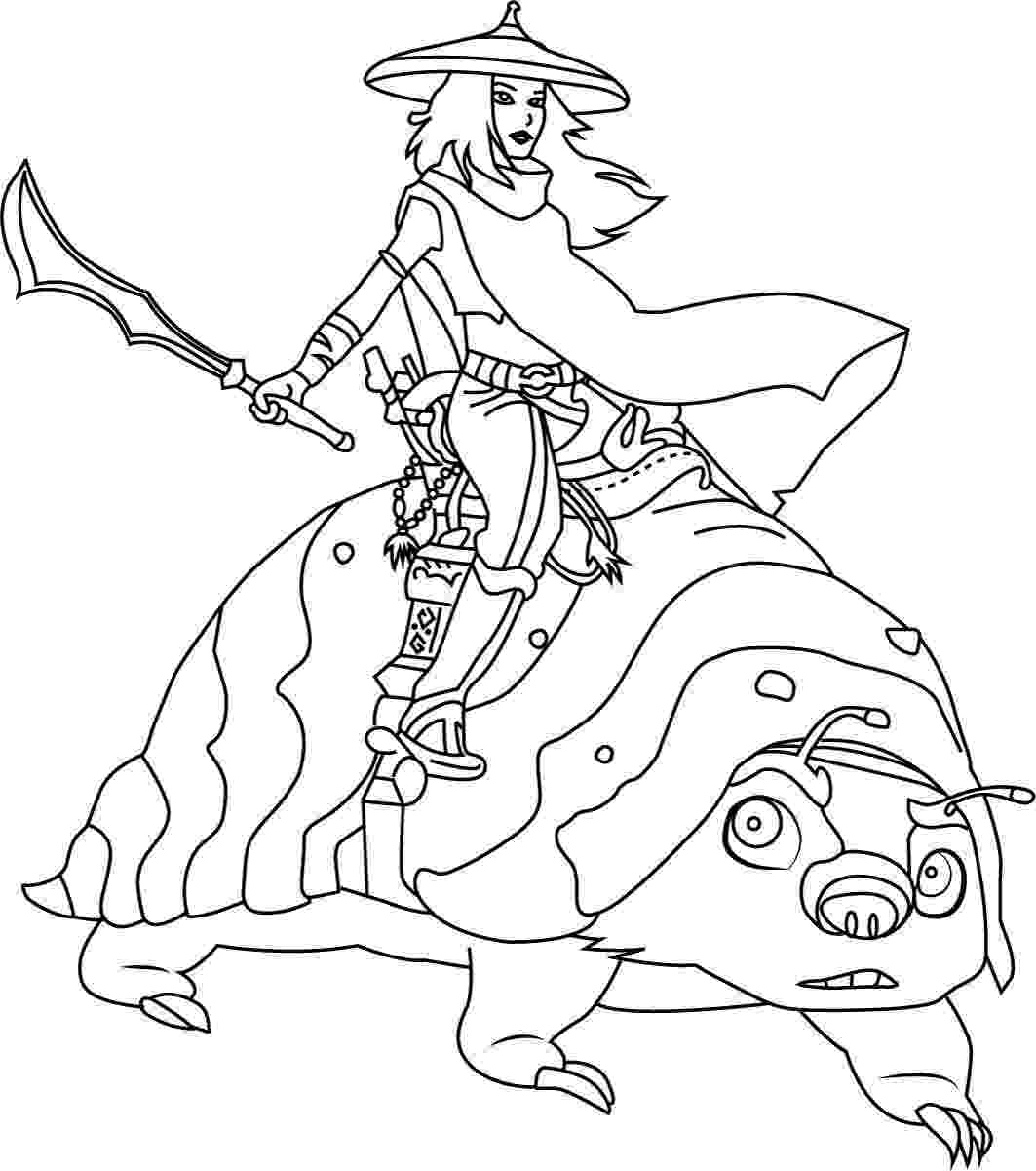 Raya Princess holds her sword and rides Tuk Tuk Coloring Page