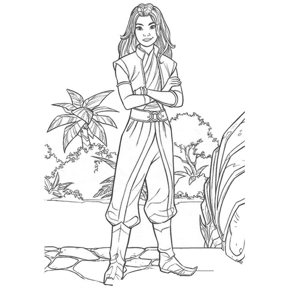 Raya Princess stands up in the forest Coloring Page