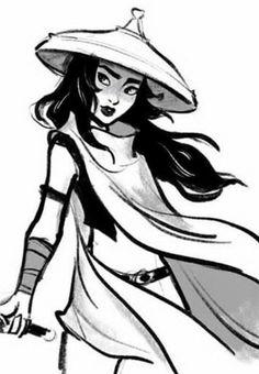 Raya Princess wearing hat black-and-white Coloring Page