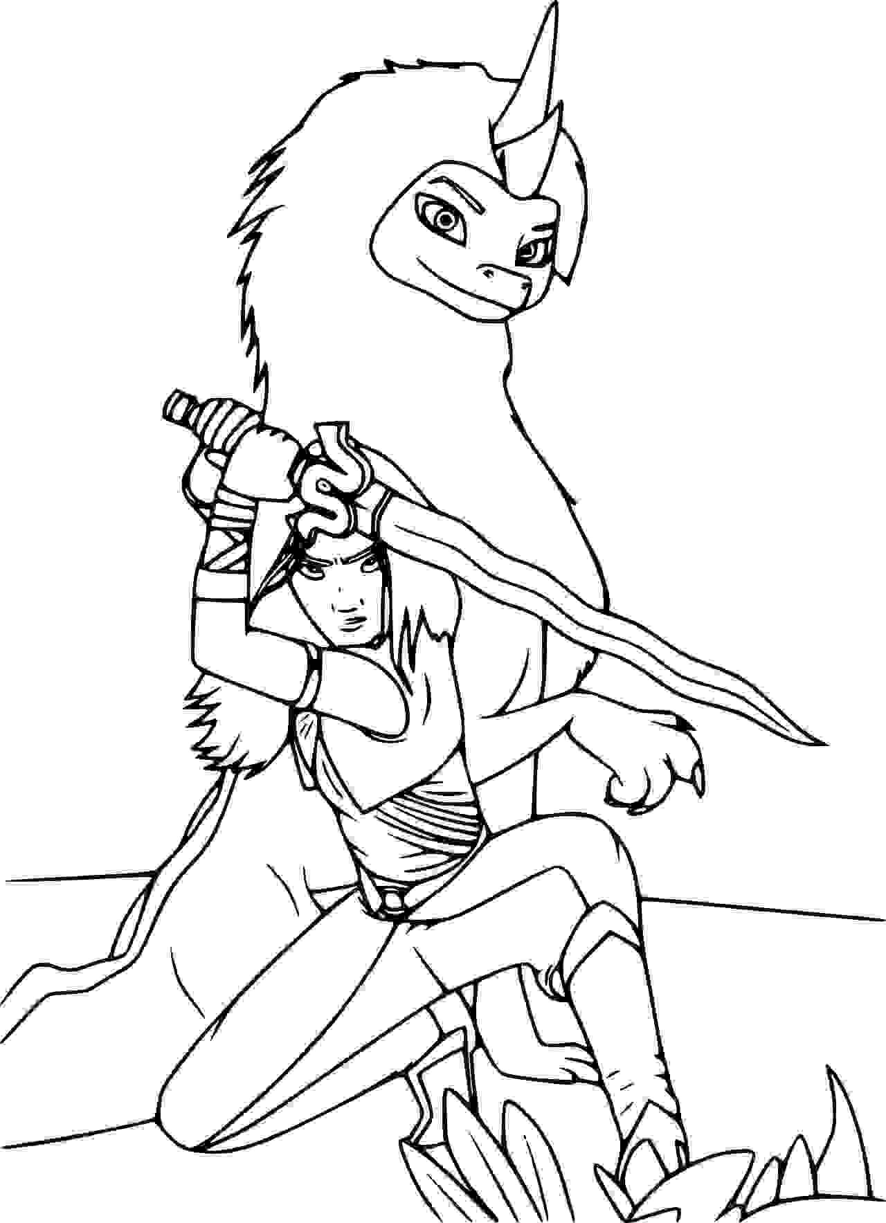 Raya protects Sisu Coloring Page