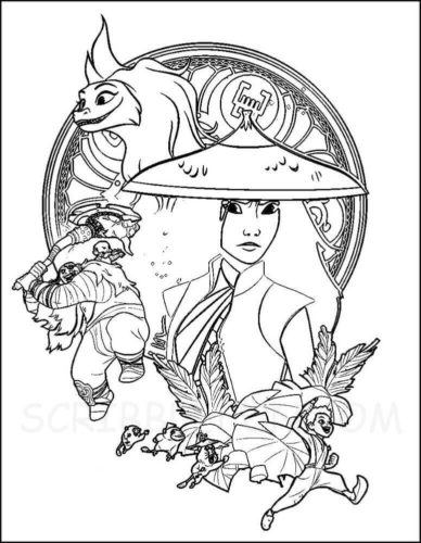 Raya, Sisu and Kid Captain from Raya and the Last Dragon Coloring Page