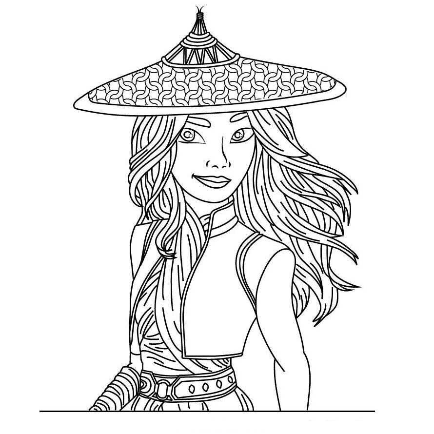 Raya smiles and wear her hat Coloring Pages