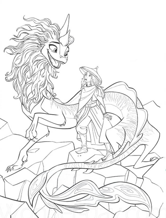 Raya talks to Sisu on the rock Coloring Page