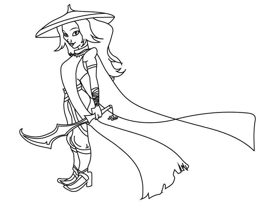 Raya the Princess in Raya and the Last Dragon Coloring Page