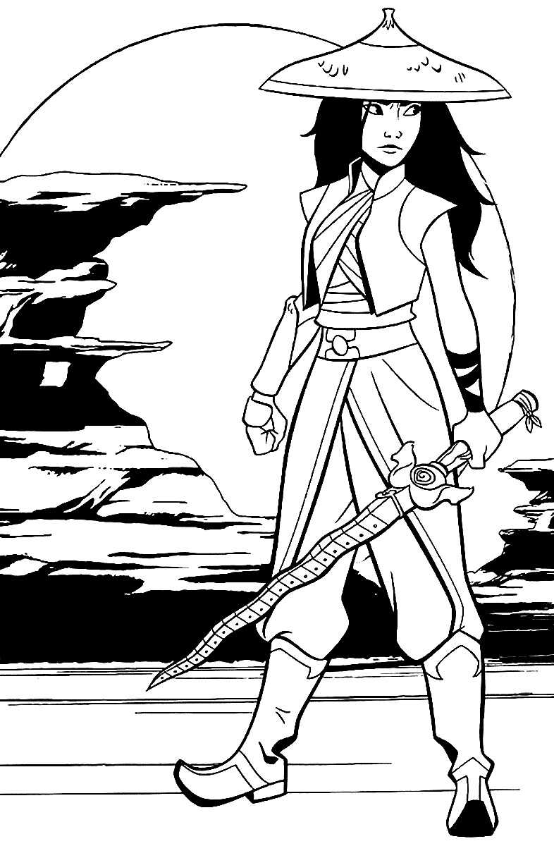 Raya Warrior holds her sword under the moonlight Coloring Page