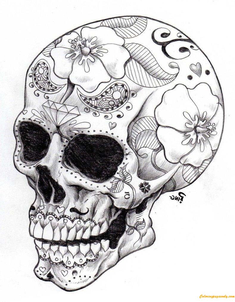 Real Sugar Skull Precision Coloring Page Free Coloring