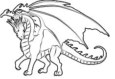 Realistic Dragons Coloring Page