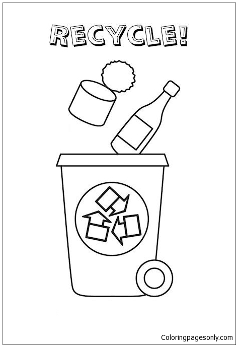Recycle Bin Coloring Page