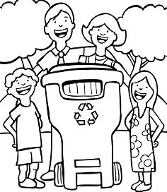 Recycle In Recycling Coloring Page