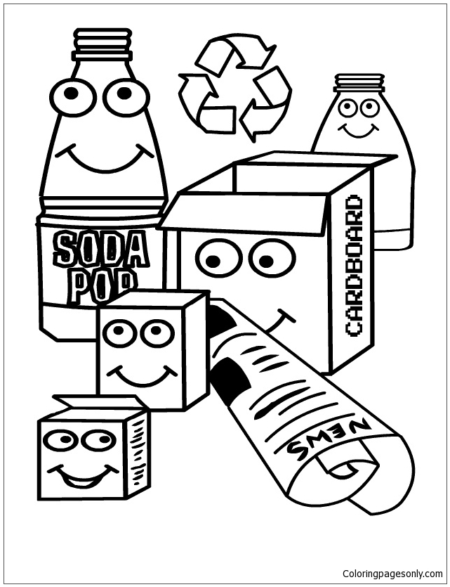 Recycle In The Home Coloring Page