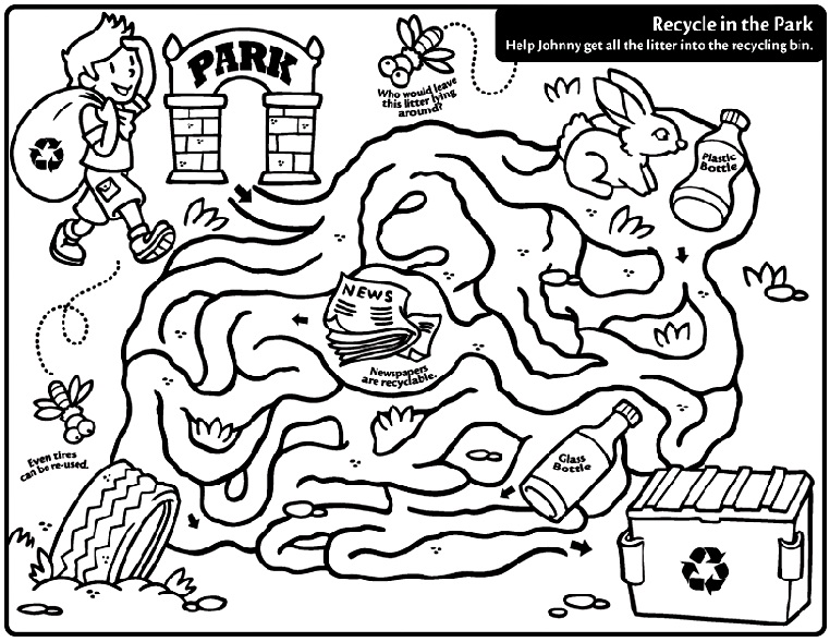Recycle In The Park Coloring Page