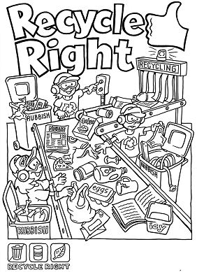 Recycle Right Coloring Page