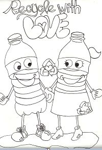 Recycle Wth Love Coloring Page