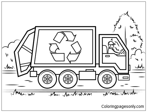 Recycling Truck Coloring Page - Free Coloring Pages Online