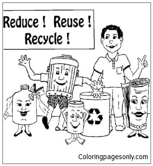 Reduce Reuse And Recycling Coloring Page
