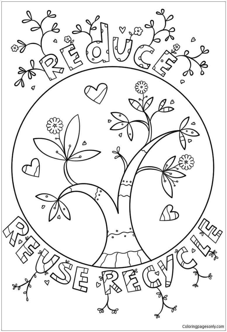 Reduce Reuse Recycle Doodle Coloring Page