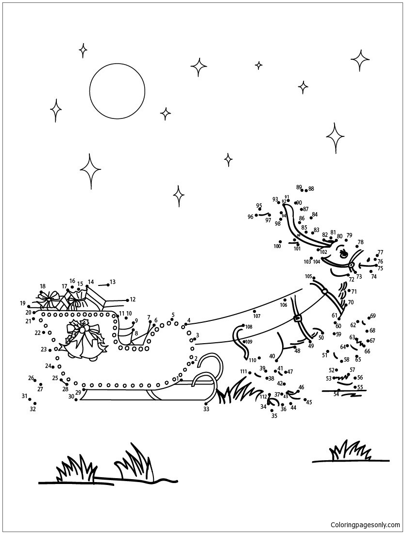 Reindeer And Sleigh Coloring Page - Free Coloring Pages Online
