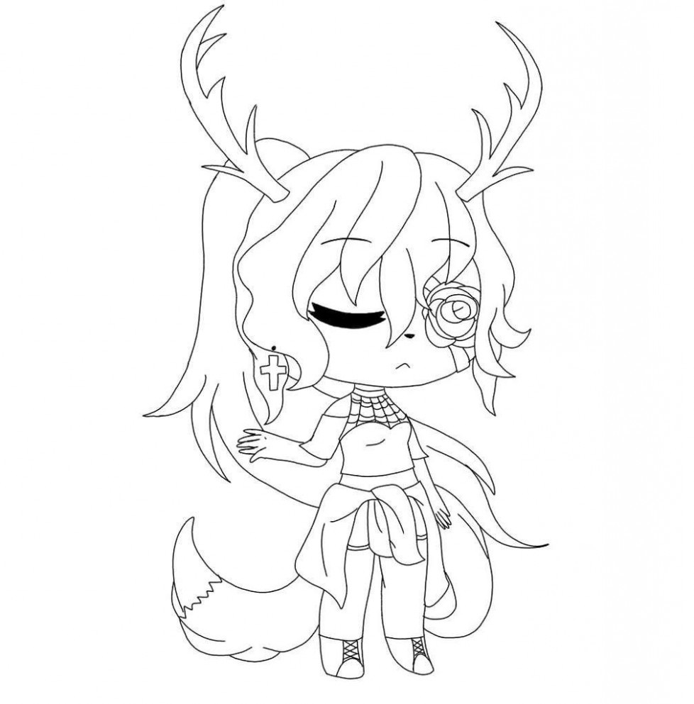 Reindeer girl and right rose blindford Coloring Page
