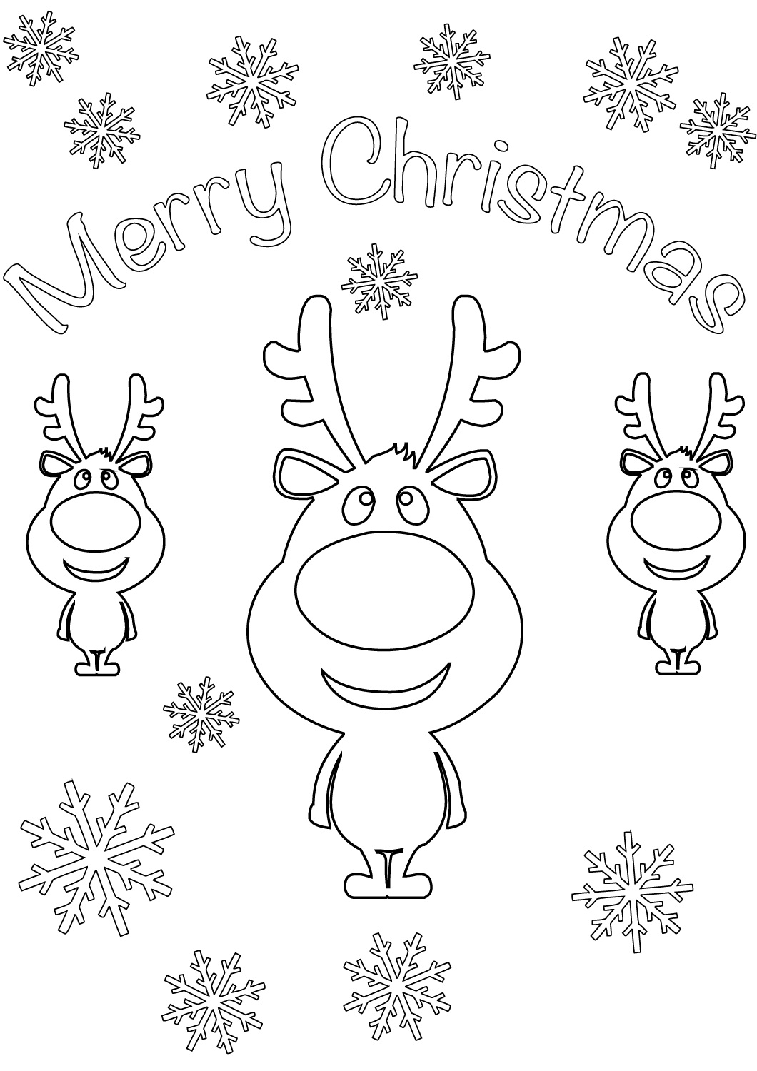 Reindeer Merry Christmas Cards Coloring Page