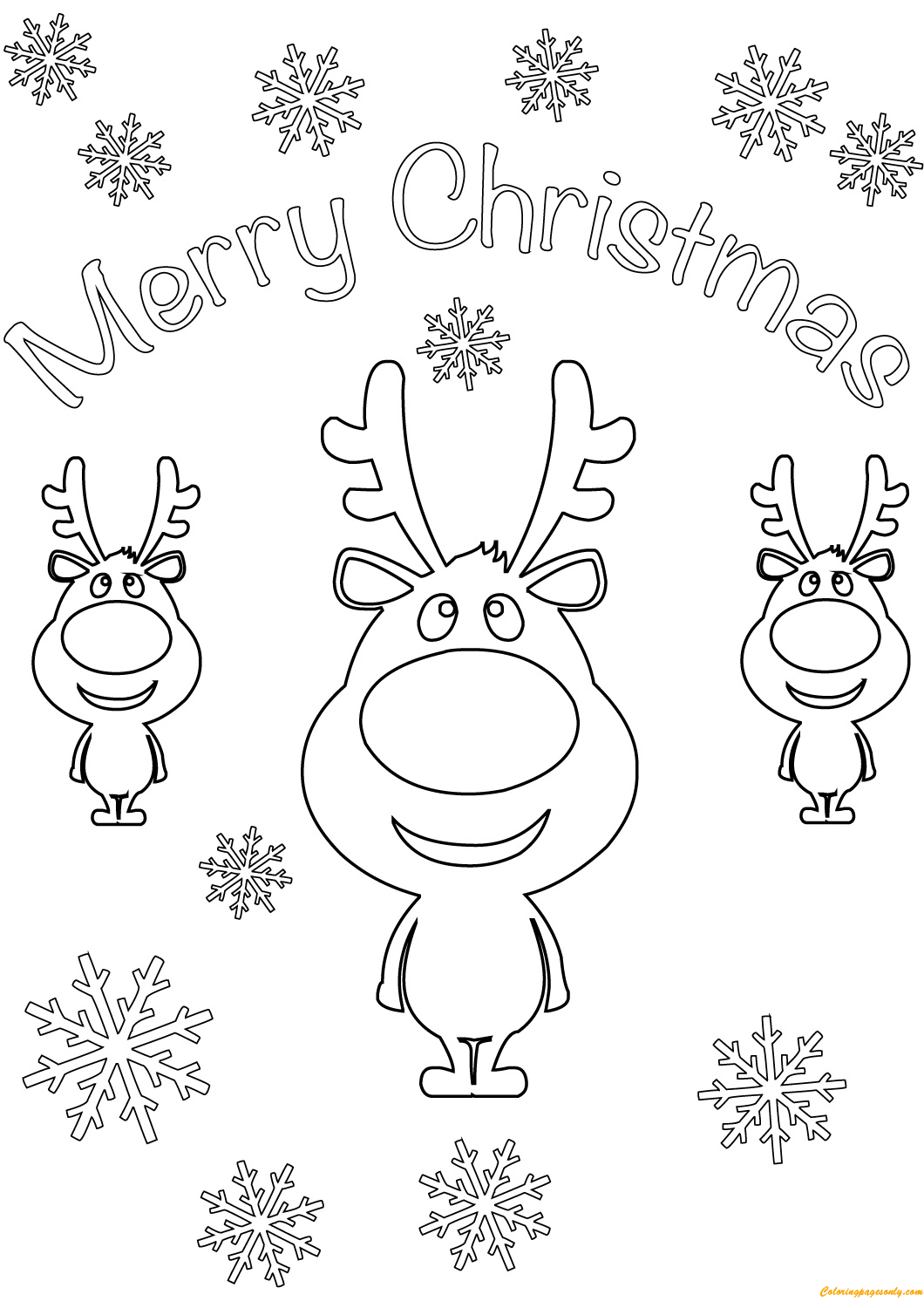 Reindeer Merry Christmas Cards Coloring Page - Free ...