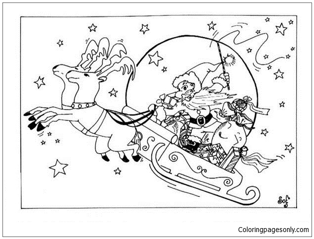 Reindeers And Sleigh Coloring Page
